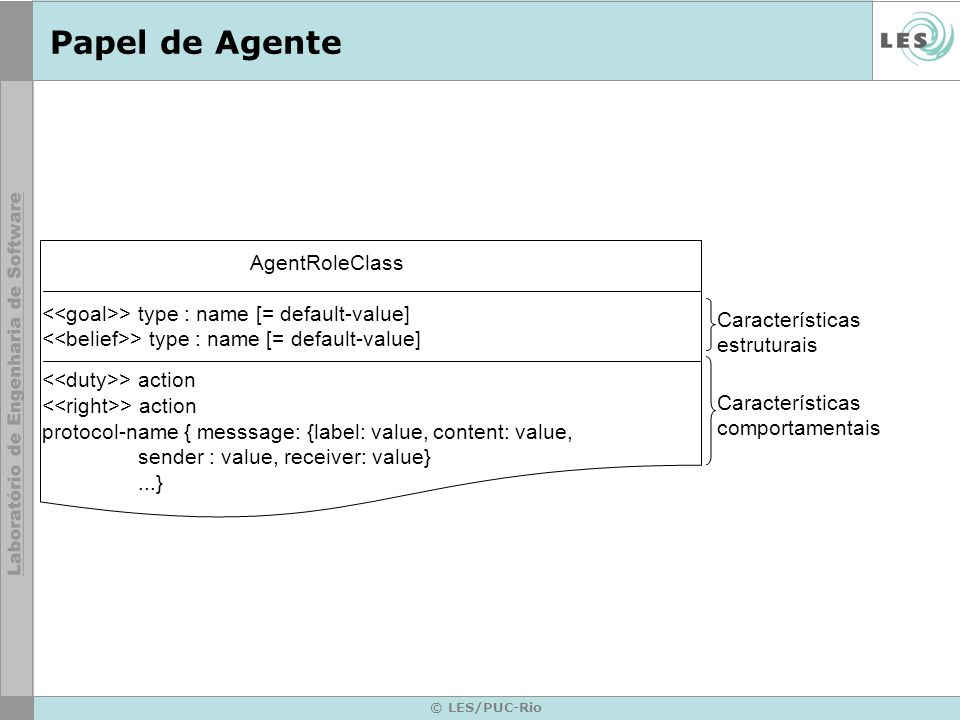 © LES/PUC-Rio Papel de Agente AgentRoleClass > type : name [= default-value] > action protocol-name { messsage: {label: value, content: value, sender : value, receiver: value}...} Características estruturais Características comportamentais