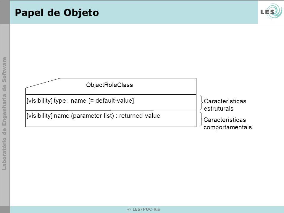 © LES/PUC-Rio Papel de Objeto ObjectRoleClass [visibility] type : name [= default-value] [visibility] name (parameter-list) : returned-value Características estruturais Características comportamentais