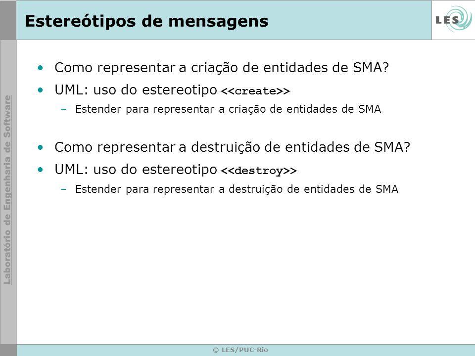© LES/PUC-Rio Estereótipos de mensagens Como representar a criação de entidades de SMA.