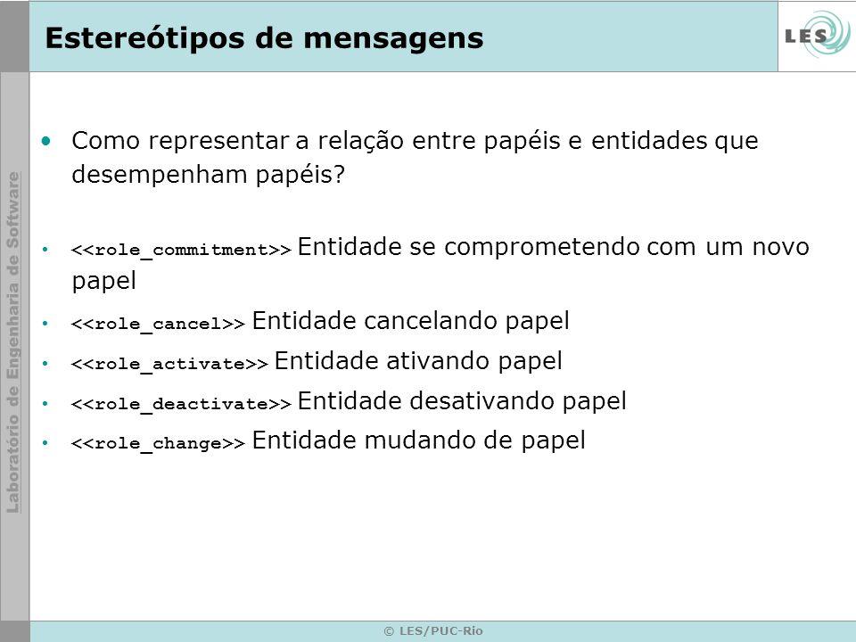 © LES/PUC-Rio Estereótipos de mensagens Como representar a relação entre papéis e entidades que desempenham papéis.