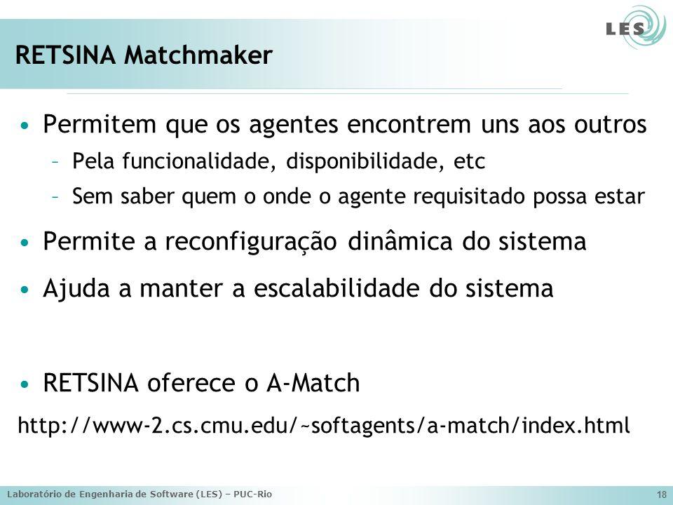 Laboratório de Engenharia de Software (LES) – PUC-Rio 18 RETSINA Matchmaker Permitem que os agentes encontrem uns aos outros –Pela funcionalidade, disponibilidade, etc –Sem saber quem o onde o agente requisitado possa estar Permite a reconfiguração dinâmica do sistema Ajuda a manter a escalabilidade do sistema RETSINA oferece o A-Match http://www-2.cs.cmu.edu/~softagents/a-match/index.html