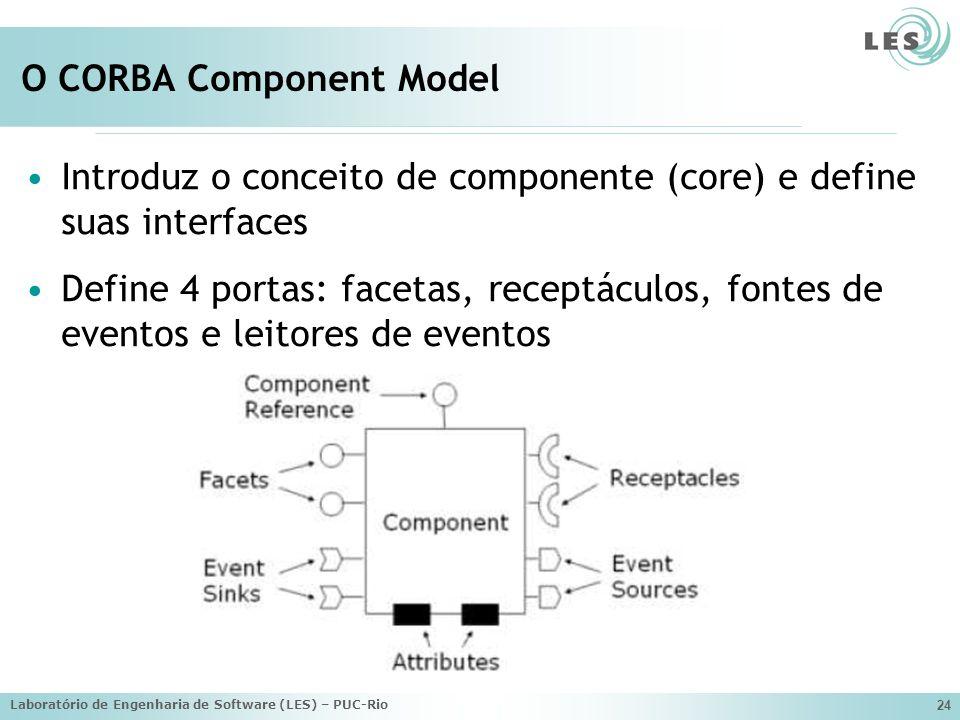 Laboratório de Engenharia de Software (LES) – PUC-Rio 24 O CORBA Component Model Introduz o conceito de componente (core) e define suas interfaces Define 4 portas: facetas, receptáculos, fontes de eventos e leitores de eventos