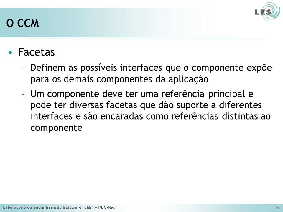 Laboratório de Engenharia de Software (LES) – PUC-Rio 25 O CCM Facetas –Definem as possíveis interfaces que o componente expõe para os demais componentes da aplicação –Um componente deve ter uma referência principal e pode ter diversas facetas que dão suporte a diferentes interfaces e são encaradas como referências distintas ao componente