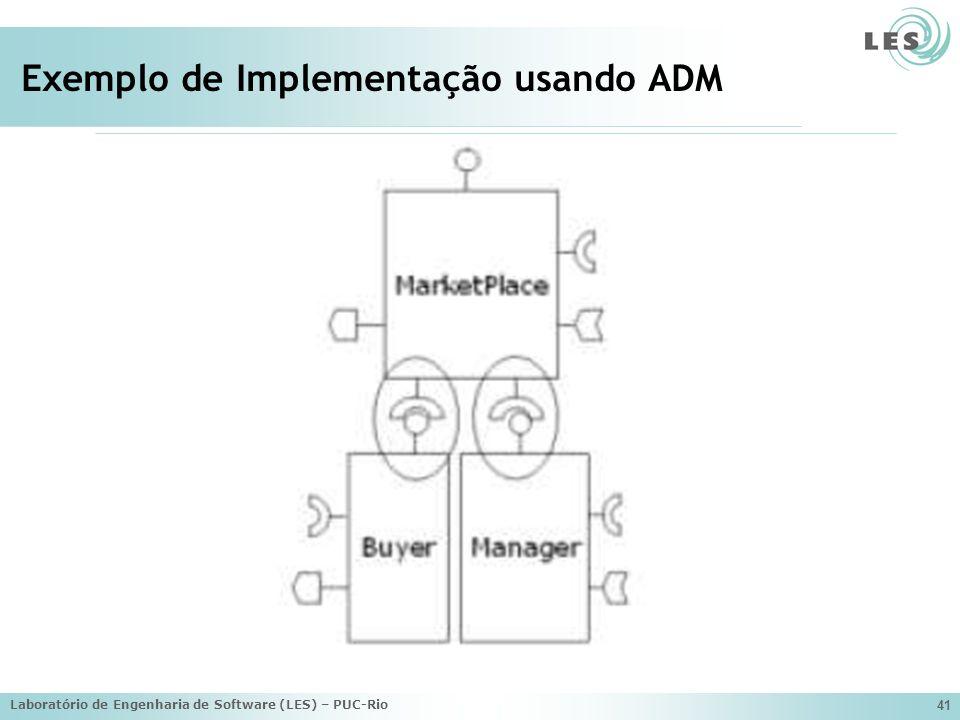 Laboratório de Engenharia de Software (LES) – PUC-Rio 41 Exemplo de Implementação usando ADM