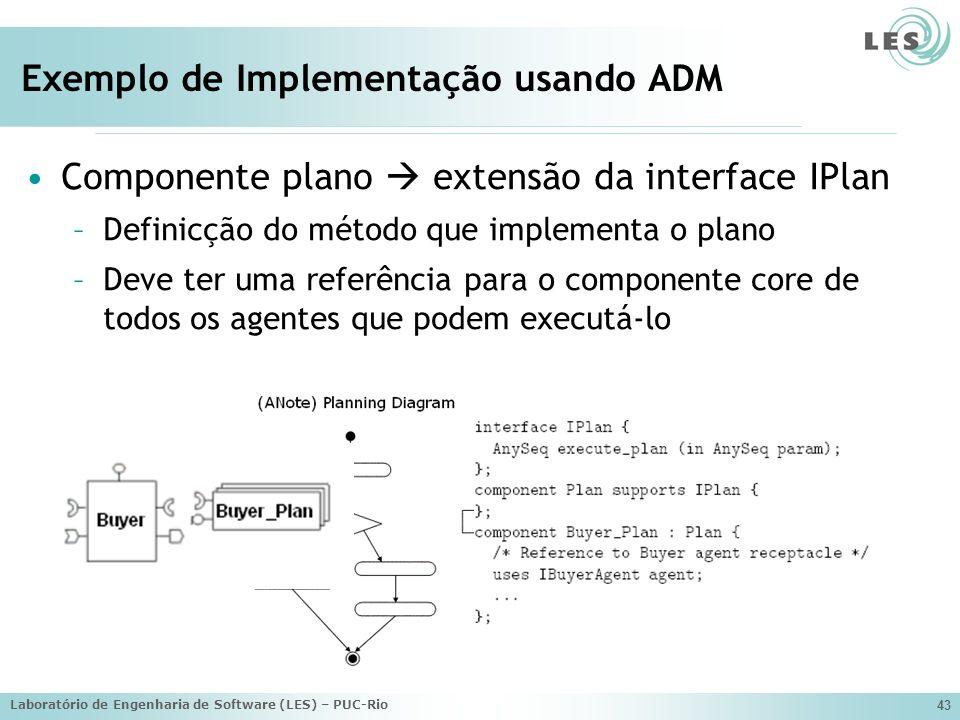 Laboratório de Engenharia de Software (LES) – PUC-Rio 43 Exemplo de Implementação usando ADM Componente plano extensão da interface IPlan –Definicção do método que implementa o plano –Deve ter uma referência para o componente core de todos os agentes que podem executá-lo