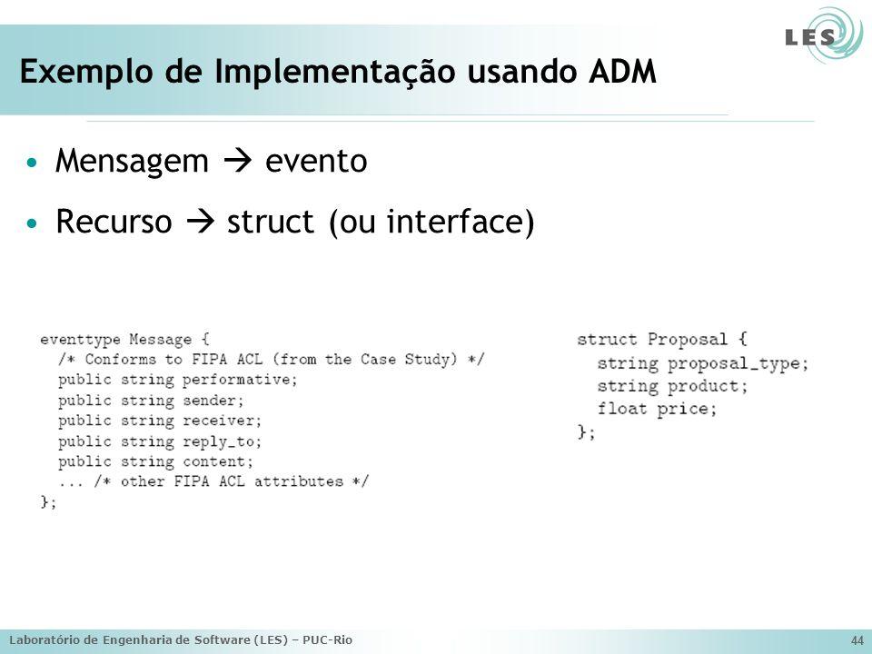 Laboratório de Engenharia de Software (LES) – PUC-Rio 44 Exemplo de Implementação usando ADM Mensagem evento Recurso struct (ou interface)