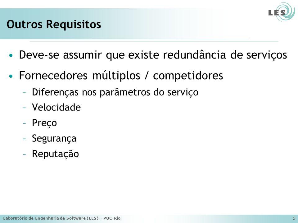 Laboratório de Engenharia de Software (LES) – PUC-Rio 5 Outros Requisitos Deve-se assumir que existe redundância de serviços Fornecedores múltiplos / competidores –Diferenças nos parâmetros do serviço –Velocidade –Preço –Segurança –Reputação
