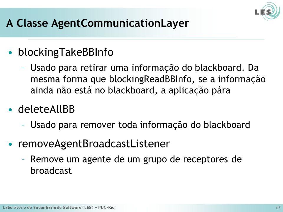 Laboratório de Engenharia de Software (LES) – PUC-Rio 57 A Classe AgentCommunicationLayer blockingTakeBBInfo –Usado para retirar uma informação do blackboard.