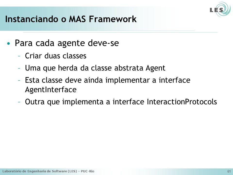 Laboratório de Engenharia de Software (LES) – PUC-Rio 61 Instanciando o MAS Framework Para cada agente deve-se –Criar duas classes –Uma que herda da classe abstrata Agent –Esta classe deve ainda implementar a interface AgentInterface –Outra que implementa a interface InteractionProtocols