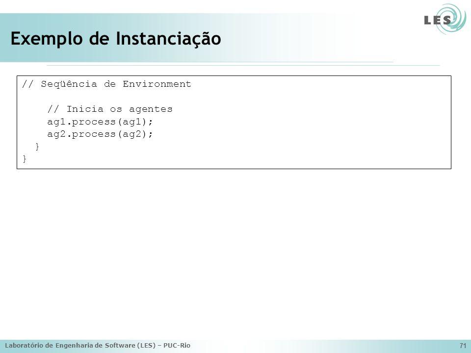 Laboratório de Engenharia de Software (LES) – PUC-Rio 71 Exemplo de Instanciação // Seqüência de Environment // Inicia os agentes ag1.process(ag1); ag2.process(ag2); }