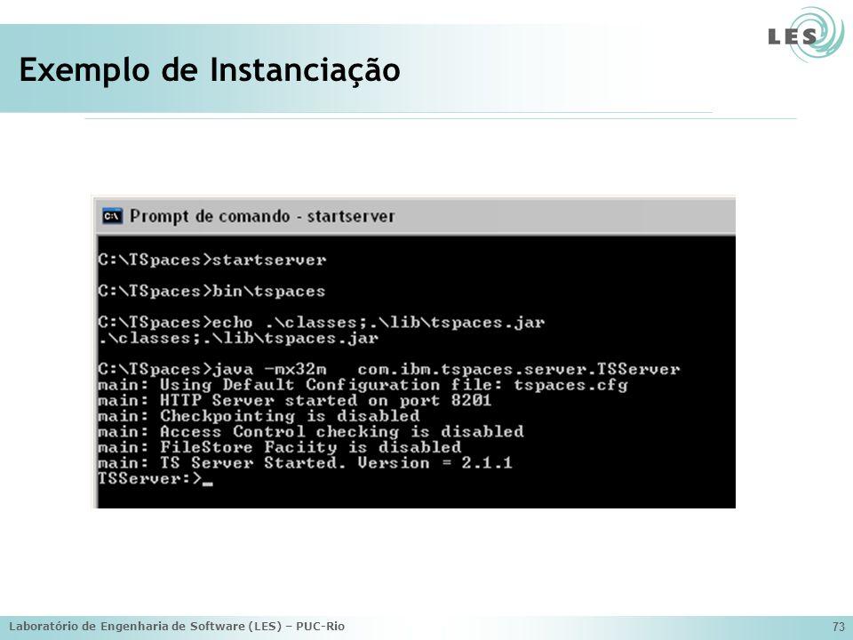Laboratório de Engenharia de Software (LES) – PUC-Rio 73 Exemplo de Instanciação