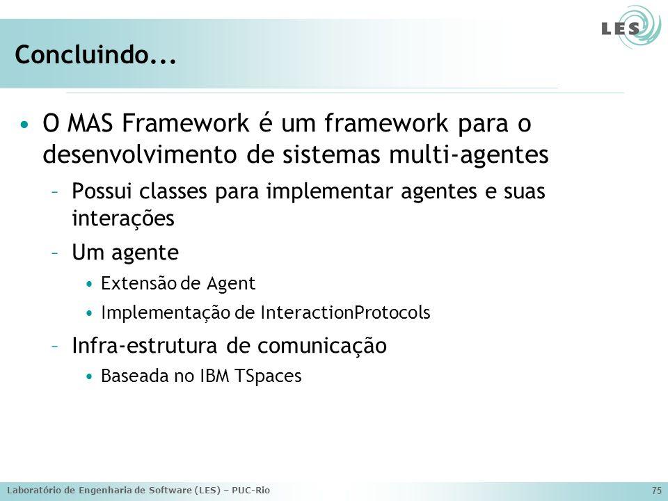 Laboratório de Engenharia de Software (LES) – PUC-Rio 75 Concluindo...