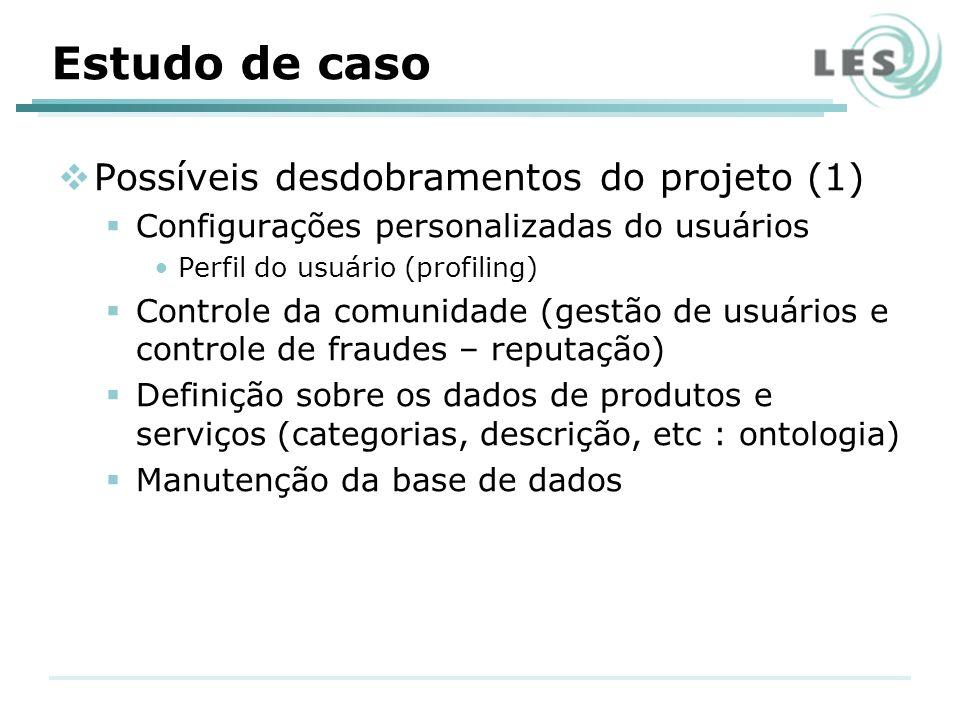 Estudo de caso Possíveis desdobramentos do projeto (1) Configurações personalizadas do usuários Perfil do usuário (profiling) Controle da comunidade (