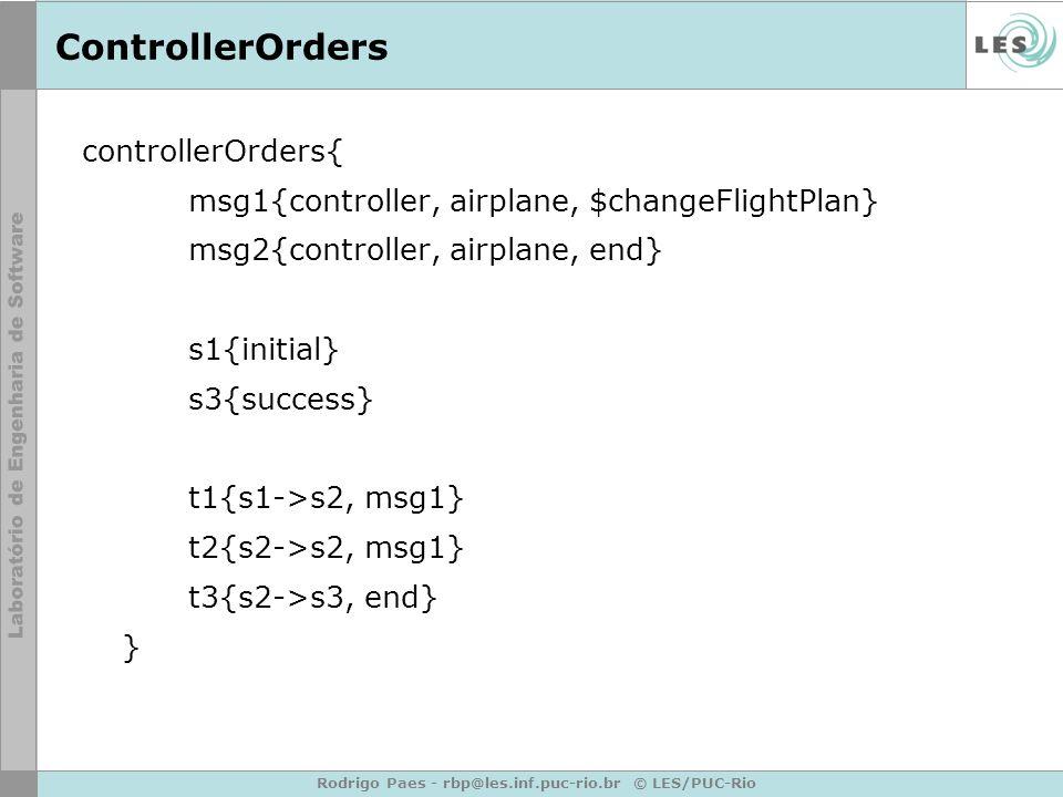 Rodrigo Paes - rbp@les.inf.puc-rio.br © LES/PUC-Rio ControllerOrders controllerOrders{ msg1{controller, airplane, $changeFlightPlan} msg2{controller, airplane, end} s1{initial} s3{success} t1{s1->s2, msg1} t2{s2->s2, msg1} t3{s2->s3, end} }