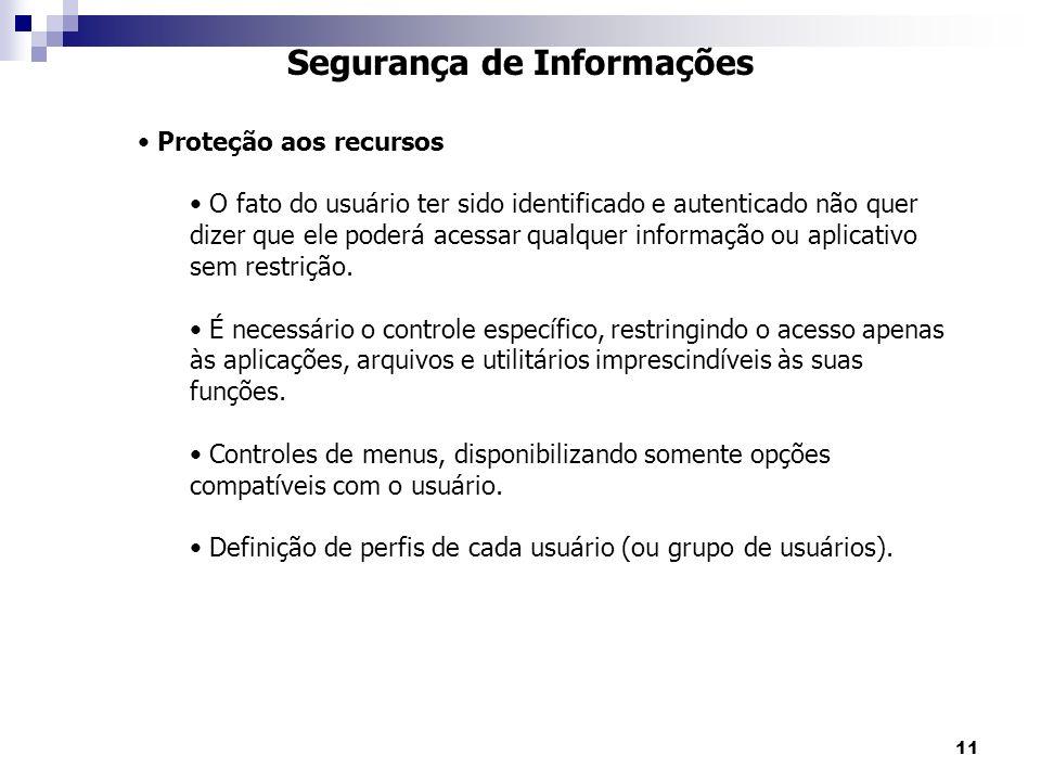 11 Segurança de Informações Proteção aos recursos O fato do usuário ter sido identificado e autenticado não quer dizer que ele poderá acessar qualquer