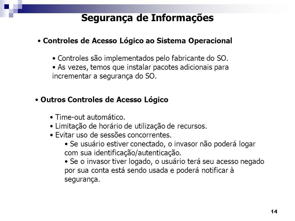 14 Segurança de Informações Controles de Acesso Lógico ao Sistema Operacional Controles são implementados pelo fabricante do SO. As vezes, temos que i