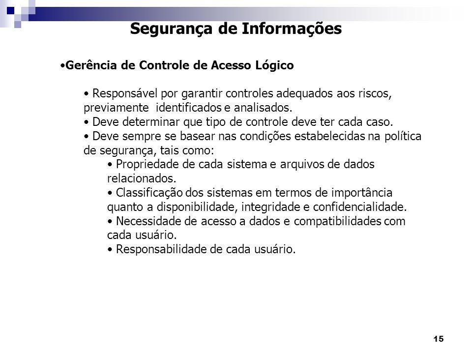 15 Segurança de Informações Gerência de Controle de Acesso Lógico Responsável por garantir controles adequados aos riscos, previamente identificados e analisados.