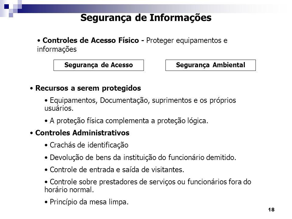 18 Segurança de Informações Controles de Acesso Físico - Proteger equipamentos e informações Segurança de AcessoSegurança Ambiental Recursos a serem protegidos Equipamentos, Documentação, suprimentos e os próprios usuários.