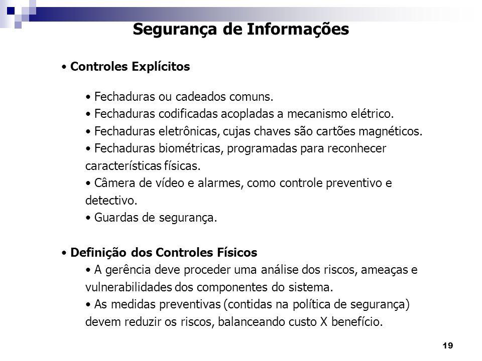 19 Segurança de Informações Controles Explícitos Fechaduras ou cadeados comuns. Fechaduras codificadas acopladas a mecanismo elétrico. Fechaduras elet