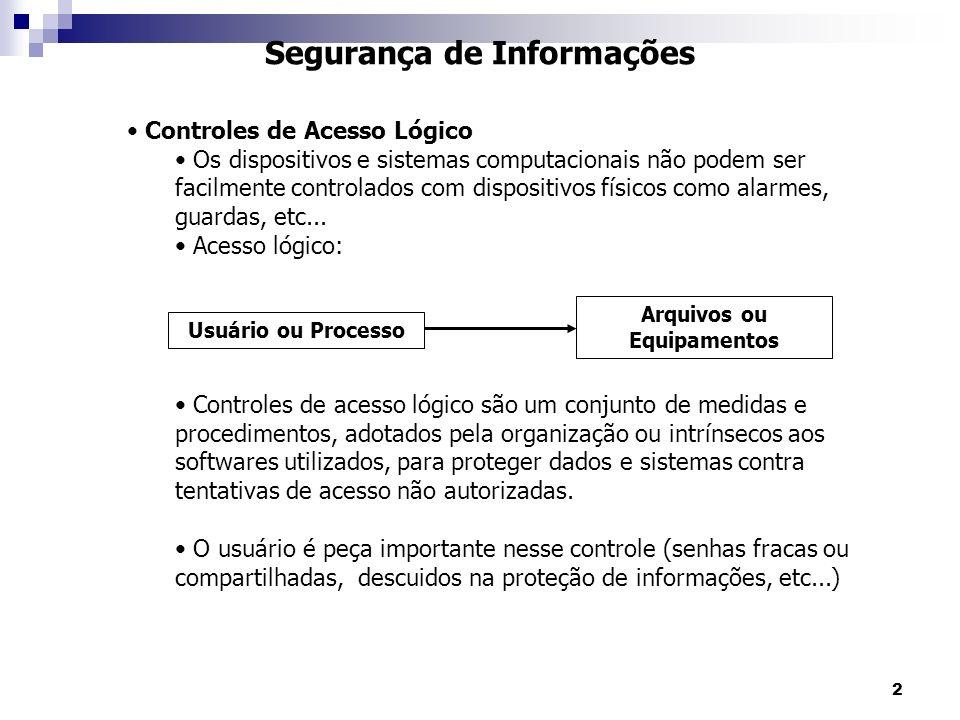 2 Segurança de Informações Controles de Acesso Lógico Os dispositivos e sistemas computacionais não podem ser facilmente controlados com dispositivos físicos como alarmes, guardas, etc...