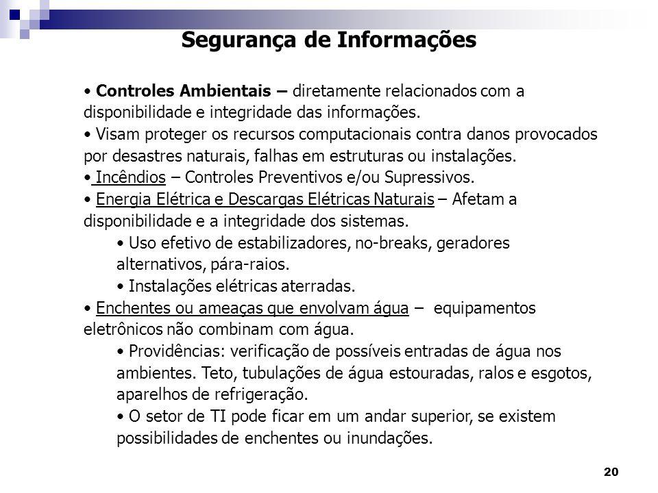 20 Segurança de Informações Controles Ambientais – diretamente relacionados com a disponibilidade e integridade das informações. Visam proteger os rec