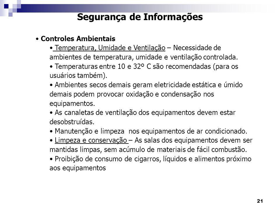 21 Segurança de Informações Controles Ambientais Temperatura, Umidade e Ventilação – Necessidade de ambientes de temperatura, umidade e ventilação controlada.