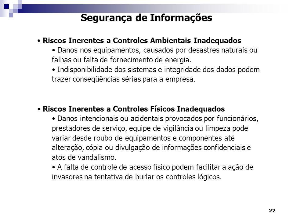 22 Segurança de Informações Riscos Inerentes a Controles Ambientais Inadequados Danos nos equipamentos, causados por desastres naturais ou falhas ou f