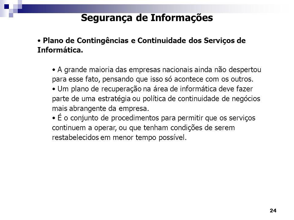 24 Segurança de Informações Plano de Contingências e Continuidade dos Serviços de Informática. A grande maioria das empresas nacionais ainda não despe
