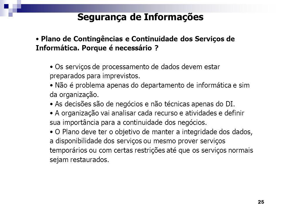 25 Segurança de Informações Plano de Contingências e Continuidade dos Serviços de Informática. Porque é necessário ? Os serviços de processamento de d