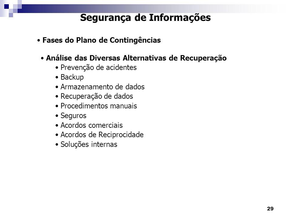 29 Segurança de Informações Fases do Plano de Contingências Análise das Diversas Alternativas de Recuperação Prevenção de acidentes Backup Armazenamento de dados Recuperação de dados Procedimentos manuais Seguros Acordos comerciais Acordos de Reciprocidade Soluções internas