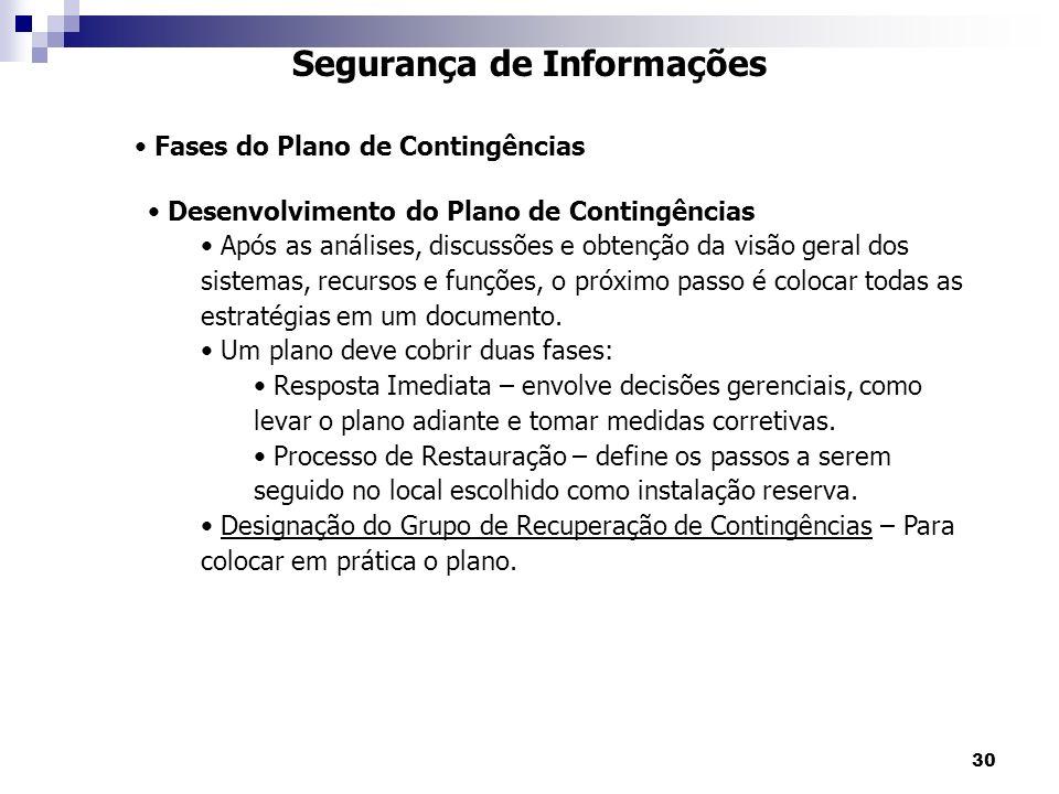 30 Segurança de Informações Fases do Plano de Contingências Desenvolvimento do Plano de Contingências Após as análises, discussões e obtenção da visão