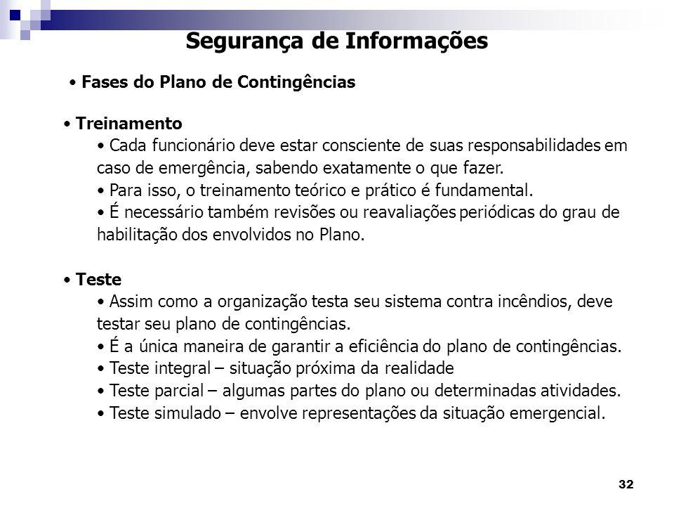 32 Segurança de Informações Fases do Plano de Contingências Treinamento Cada funcionário deve estar consciente de suas responsabilidades em caso de em