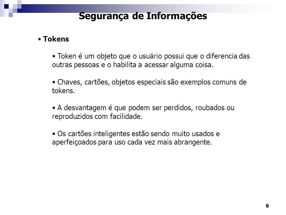 8 Segurança de Informações Tokens Token é um objeto que o usuário possui que o diferencia das outras pessoas e o habilita a acessar alguma coisa.