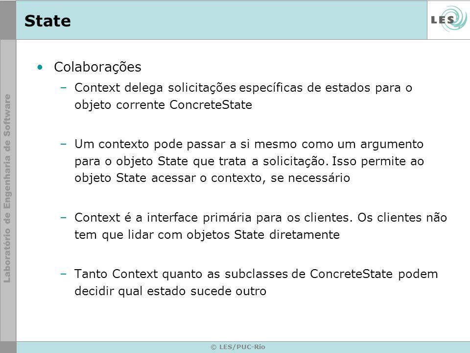 © LES/PUC-Rio State Colaborações –Context delega solicitações específicas de estados para o objeto corrente ConcreteState –Um contexto pode passar a s