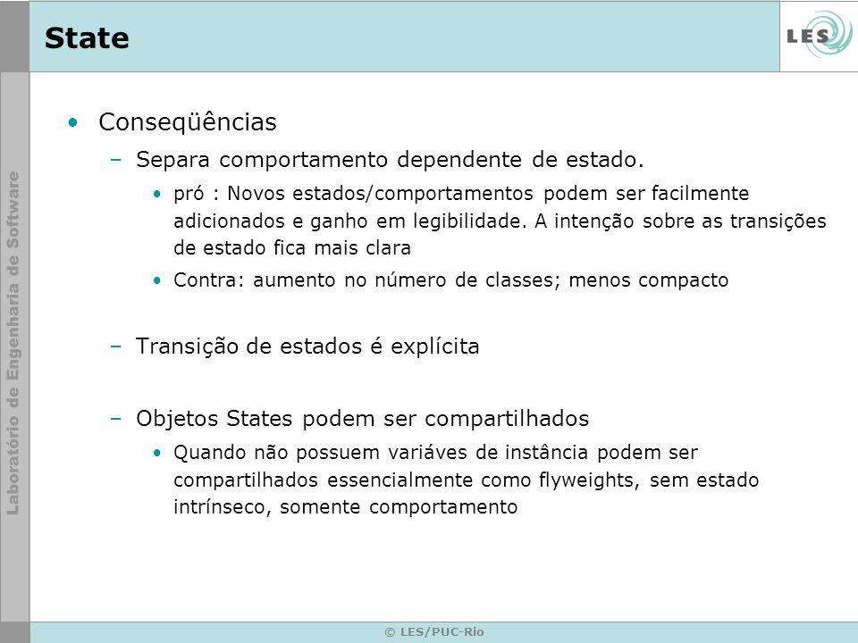© LES/PUC-Rio State Conseqüências –Separa comportamento dependente de estado. pró : Novos estados/comportamentos podem ser facilmente adicionados e ga