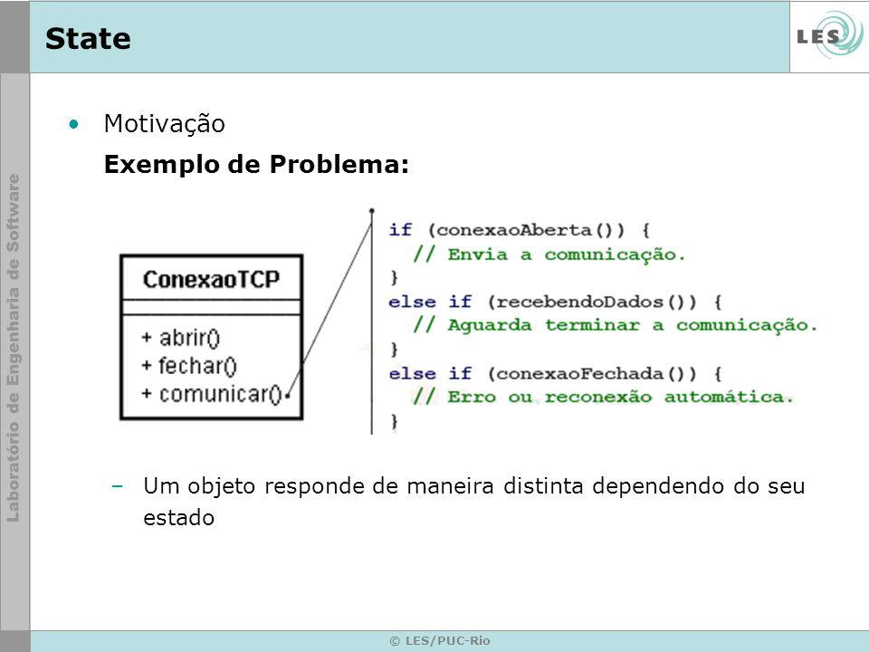 © LES/PUC-Rio State Motivação Exemplo de Problema: –Um objeto responde de maneira distinta dependendo do seu estado