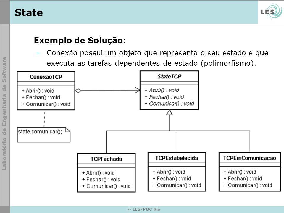 © LES/PUC-Rio State Exemplo de Solução: –Conexão possui um objeto que representa o seu estado e que executa as tarefas dependentes de estado (polimorf
