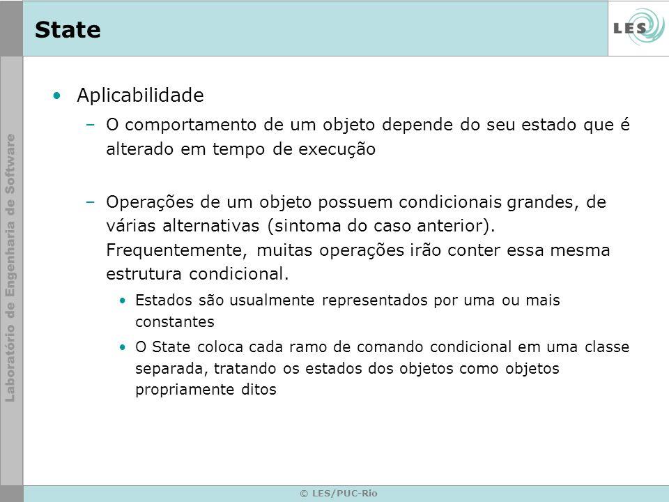 © LES/PUC-Rio State Aplicabilidade –O comportamento de um objeto depende do seu estado que é alterado em tempo de execução –Operações de um objeto pos