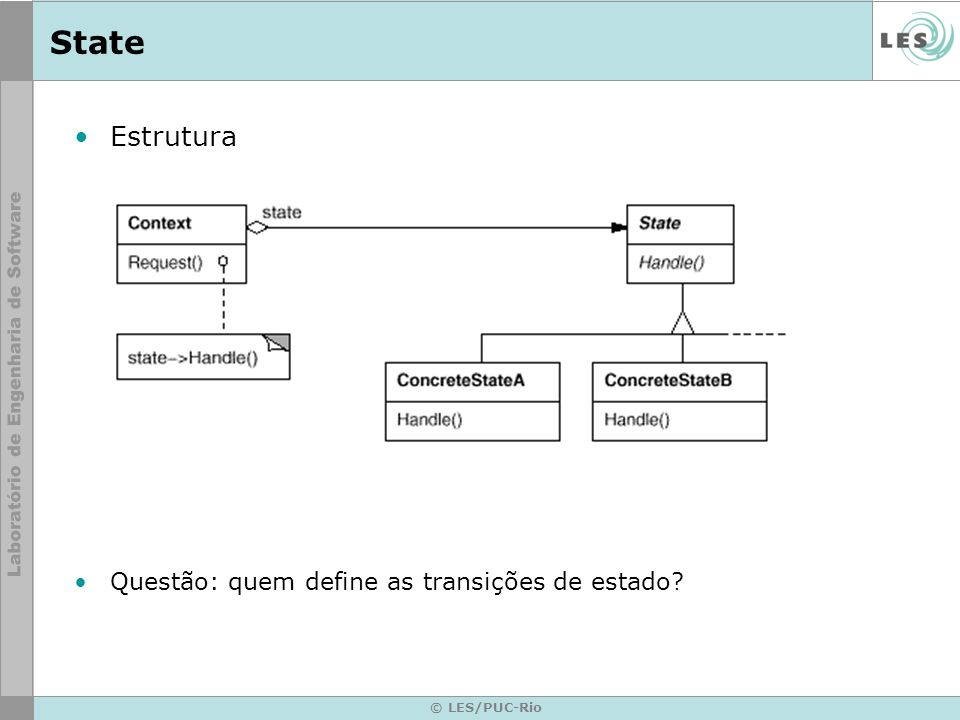 © LES/PUC-Rio State Participantes –Context define a interface de interesse para os clientes mantém uma instância de uma subclasse ConcreteState que define o estado corrente –State define uma interface para encapsulamento associado com um determinado estado do Context –ConcreteState subclasses cada subclasse implementa um comportamento associado com um estado do Context