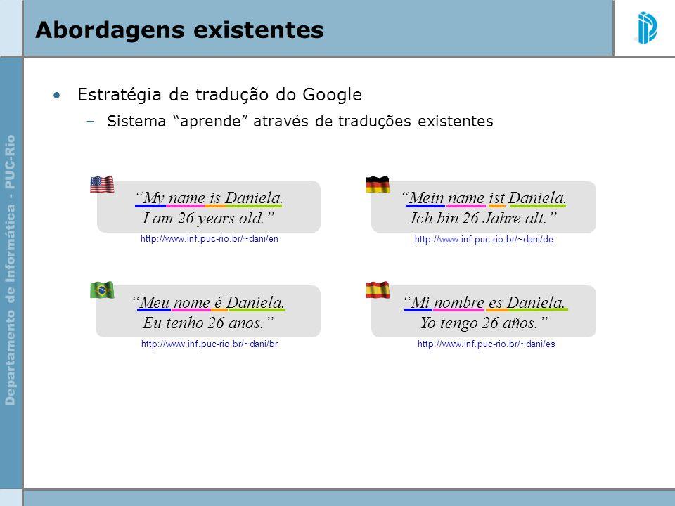 Abordagens existentes Estratégia de tradução do Google –Sistema aprende através de traduções existentes My name is Daniela. I am 26 years old. Mein na