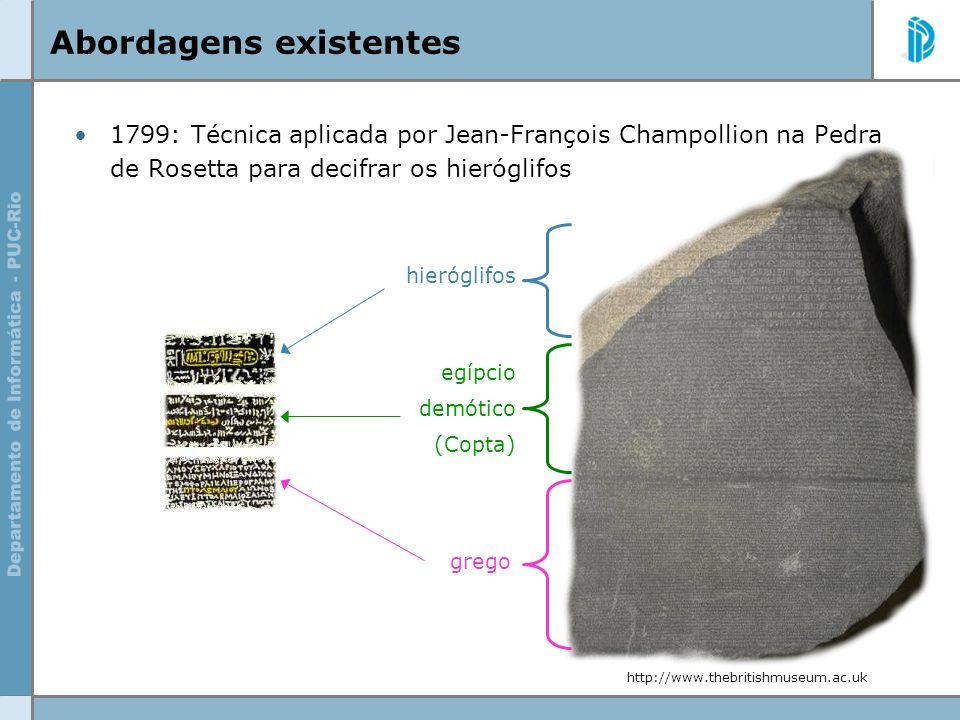 Abordagens existentes 1799: Técnica aplicada por Jean-François Champollion na Pedra de Rosetta para decifrar os hieróglifos hieróglifos egípcio demóti