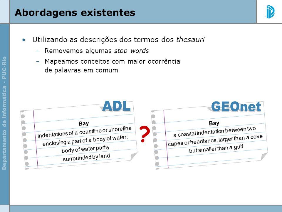 Abordagens existentes Utilizando as descrições dos termos dos thesauri –Removemos algumas stop-words –Mapeamos conceitos com maior ocorrência de palav