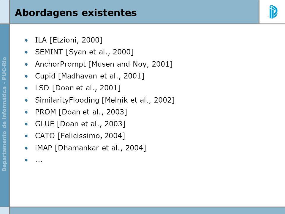 Abordagens existentes ILA [Etzioni, 2000] SEMINT [Syan et al., 2000] AnchorPrompt [Musen and Noy, 2001] Cupid [Madhavan et al., 2001] LSD [Doan et al.