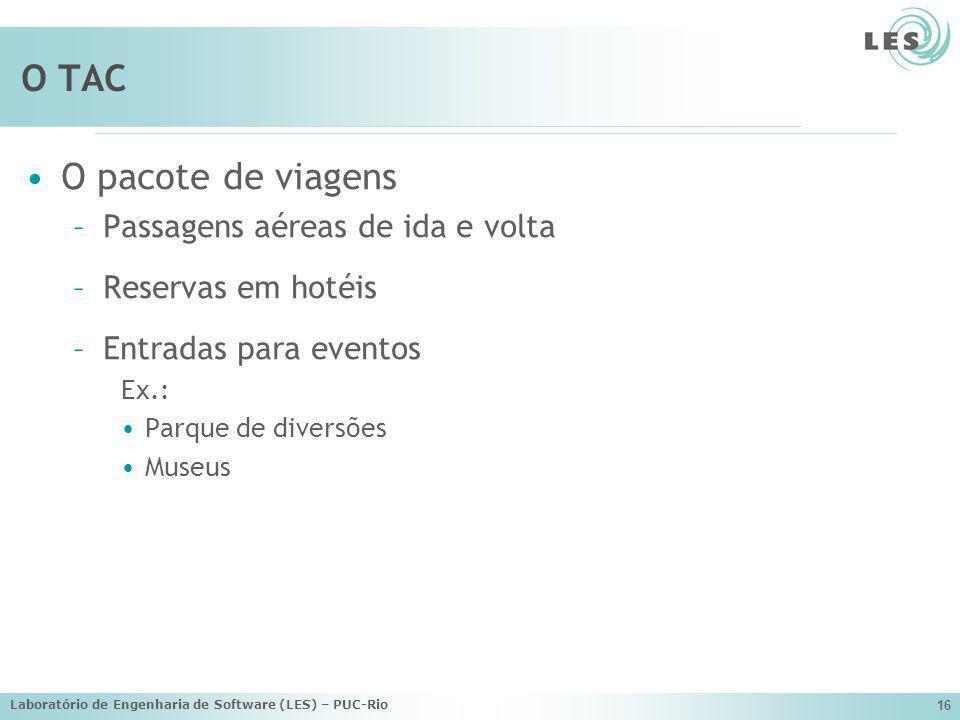 Laboratório de Engenharia de Software (LES) – PUC-Rio 16 O TAC O pacote de viagens –Passagens aéreas de ida e volta –Reservas em hotéis –Entradas para