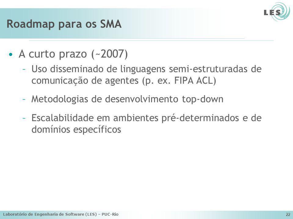Laboratório de Engenharia de Software (LES) – PUC-Rio 22 Roadmap para os SMA A curto prazo (~2007) –Uso disseminado de linguagens semi-estruturadas de