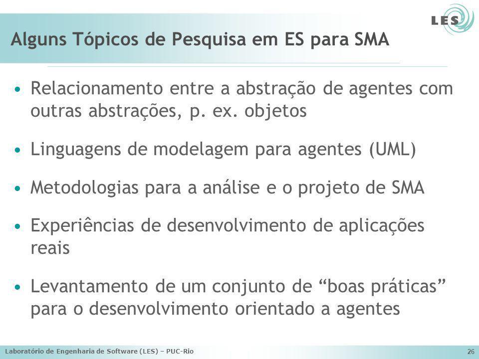 Laboratório de Engenharia de Software (LES) – PUC-Rio 26 Alguns Tópicos de Pesquisa em ES para SMA Relacionamento entre a abstração de agentes com out
