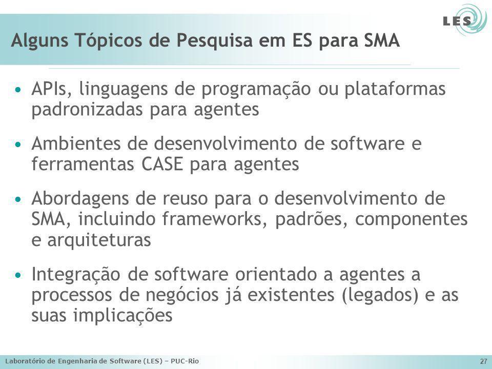 Laboratório de Engenharia de Software (LES) – PUC-Rio 27 Alguns Tópicos de Pesquisa em ES para SMA APIs, linguagens de programação ou plataformas padr