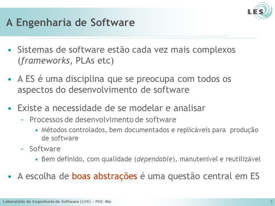 Laboratório de Engenharia de Software (LES) – PUC-Rio 3 A Engenharia de Software Sistemas de software estão cada vez mais complexos (frameworks, PLAs