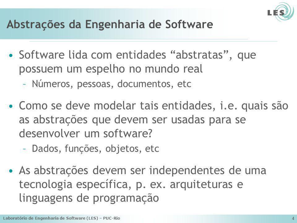 Laboratório de Engenharia de Software (LES) – PUC-Rio 4 Abstrações da Engenharia de Software Software lida com entidades abstratas, que possuem um esp