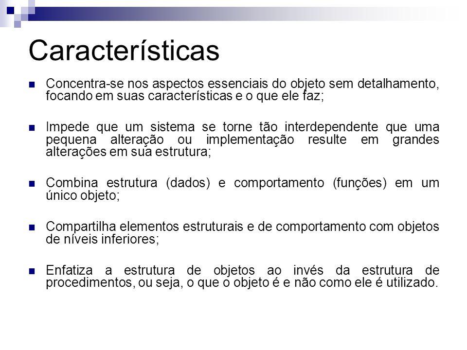 Características Concentra-se nos aspectos essenciais do objeto sem detalhamento, focando em suas características e o que ele faz; Impede que um sistem